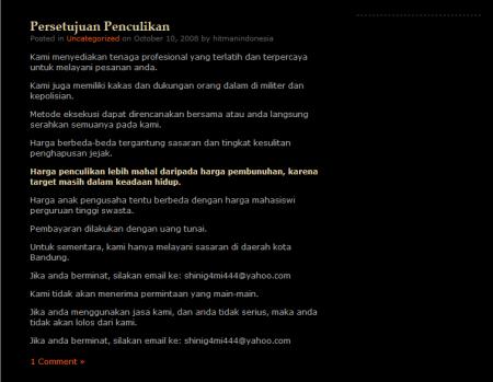 blog hitman pembunuh bayaran Indonesia